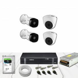 Kit Dvr 4 Canais Intelbras Full HD Dome e Bullet Completo