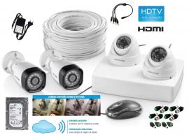 Kit Dvr 4 canais Multilaser AHD 1 Mega 1280x720p com HD 1TB