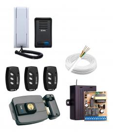 Kit Interfone + Fechadura Elétrica HDL + 3 Controles + 1 Fonte + 1 Receptor