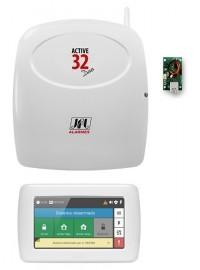 Central Alarme Monitorado Jfl Active 32 + Teclado Touch Versão 5.0 + Módulo Ethernet