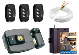 Kit Fechadura Elétrica HDL + 3 Controles + 1 Fonte + 1 Receptor