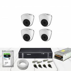 Kit Dvr 4 Canais  Multi HD Intelbras 1 Mega 720p  Dome completo
