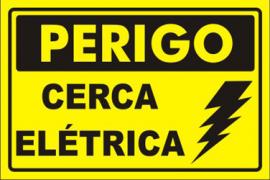 Placa De Advertência: Perigo Cerca Elétrica Plástico