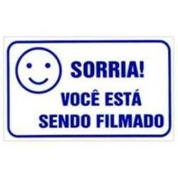 Placa De Advertência Sorria Você Está Sendo Filmado P/ Cftv