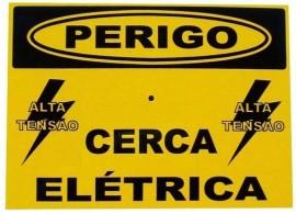 Placa De Advertência: Perigo Cerca Elétrica Em Alumínio
