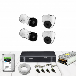 Kit Dvr 4 Canais Intelbras HD Dome e Bullet Completo