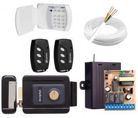 Kit Fechadura Intelbras Preta + Teclado S/ Fio + Controle