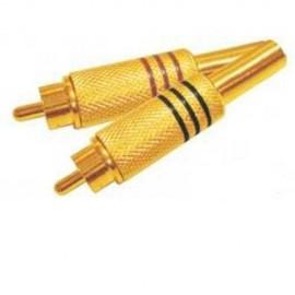 Conector Rca Macho Dourado Mola Cftv 100 Unidades