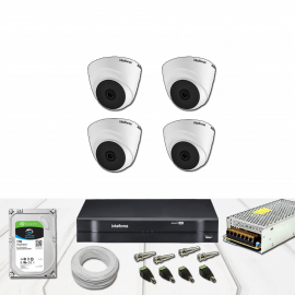 Kit DVR 4 Canais Intelbras HD Dome Completo