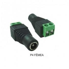 Conector P4 Fêmea Com Bornes Cftv 100 Unidades