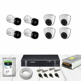 Kit Dvr 8 Canais Intelbras Full HD Dome e  Bullet Completo